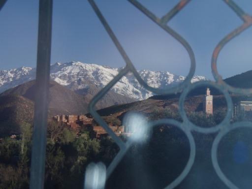 Asni : vue sur l'Atlas de la terrasse