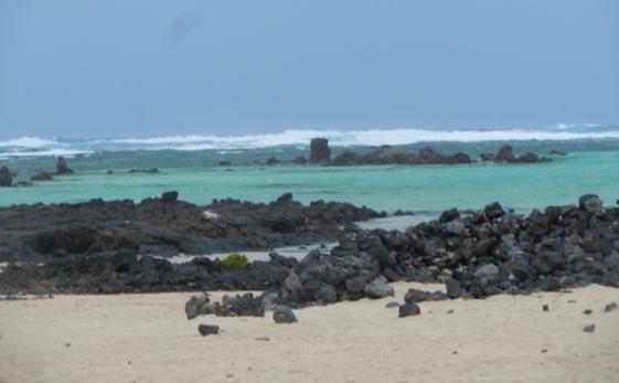 près d'Orzola : sable blanc et rochers noirs